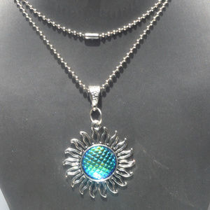 Psychedelic Fish Scale Sun Silver Pendant Necklace